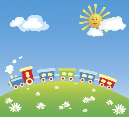 A vector illustration of a steam train running on the hill. Compositions contains a steam engine with several cars, daisies on a green hill, and a blue sky with yellow sun and white clouds. From the KidColors series.