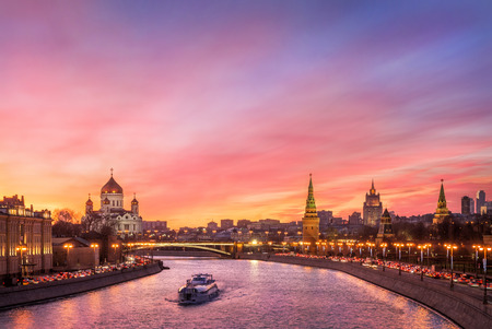 Photo for Scarlet glow of the sunset over the Moscow River and the Kremlin - Royalty Free Image