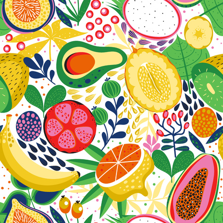 Illustration for Seamless background with various tropical fruits on white. Vector fruit pattern. - Royalty Free Image