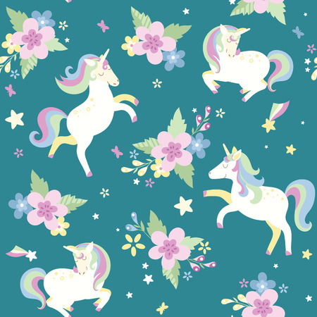 Illustration for Unicorn with flowers Can be used as decor for playroom, gift wrapping, textiles. Vector illustration - Royalty Free Image