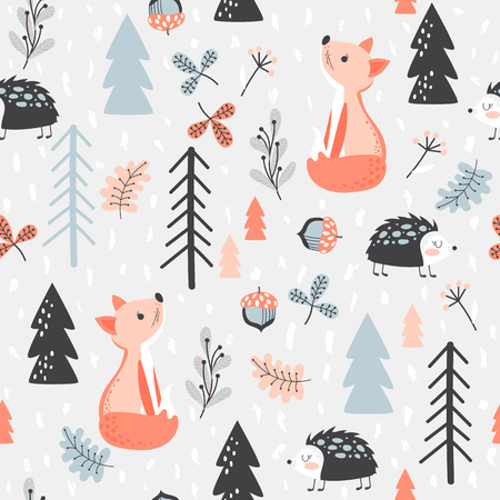 Illustration pour Cute seamless pattern with fox and hedgehog in forest. Vector illustration in cartoon style. - image libre de droit