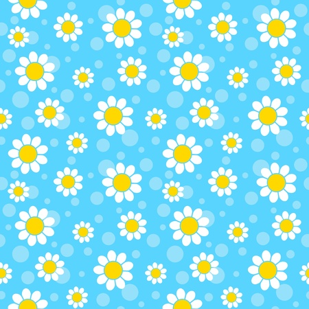 Illustration for White flowers on blue background. Seamless pattern. - Royalty Free Image