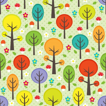 Vector forest seamless pattern with trees