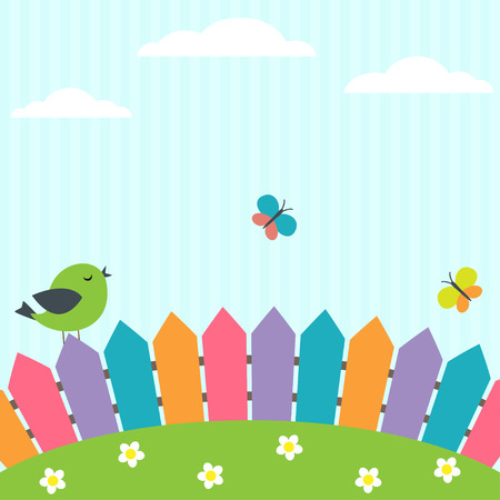Illustration pour Background with bird and flying butterflies - image libre de droit