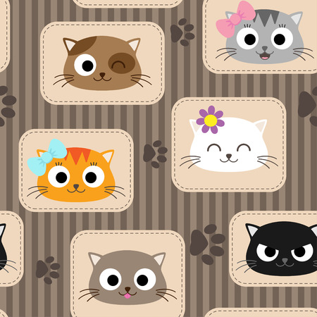 Illustration pour Seamless pattern with cute cats. Vector illustration - image libre de droit