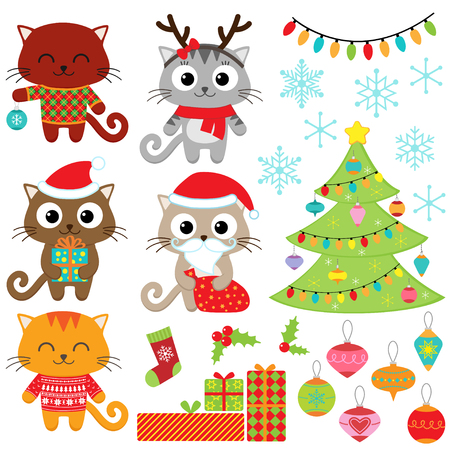 Illustration pour Christmas vector set of cats in costumes, gifts, tree, ornaments and snowflakes - image libre de droit