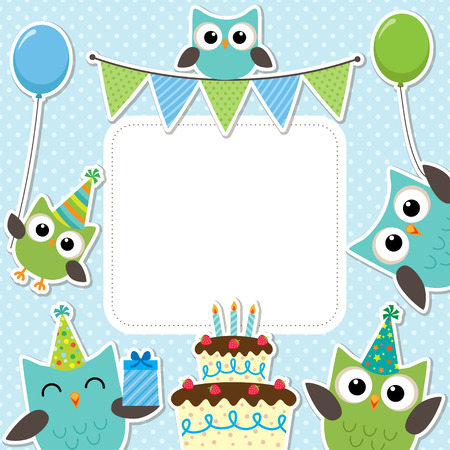 Illustration pour Vector birthday party card with cute owls in blue for boys - image libre de droit