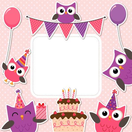 Ilustración de Vector birthday party card with cute owls in pink for girls - Imagen libre de derechos