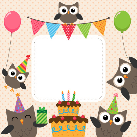 Illustration for Vector birthday party card with cute owls - Royalty Free Image