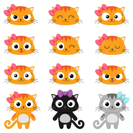 Set of different cartoon cats with various emotions