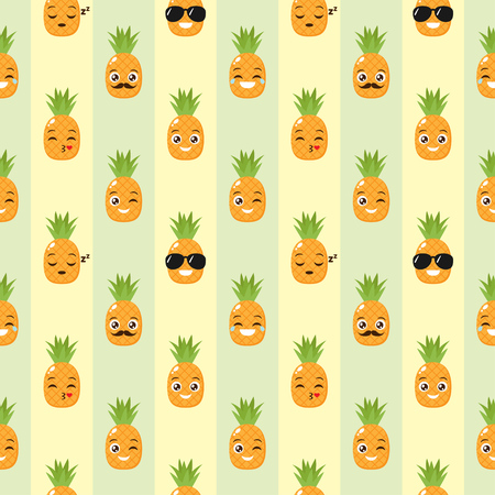 Illustration for Vector seamless background with funny pineapples - Royalty Free Image
