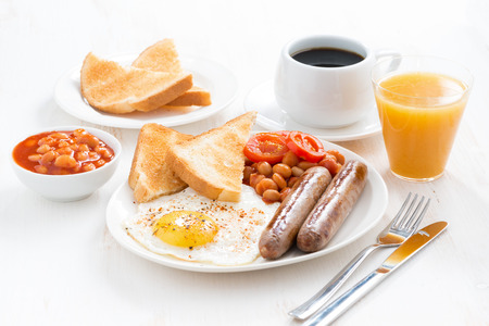 Photo for delicious English breakfast with sausages, horizontal - Royalty Free Image