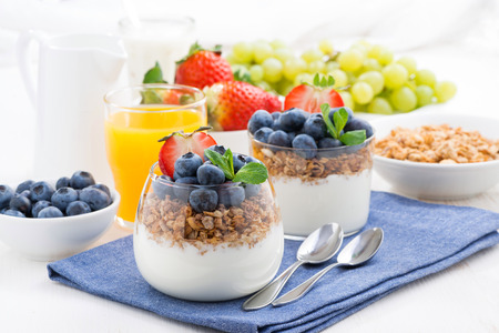 Photo for delicious dessert with cream, fresh berries and muesli, horizontal - Royalty Free Image