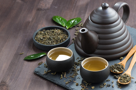 Photo for set for tea ceremony on a wooden table, horizontal - Royalty Free Image