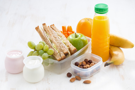 Photo for school lunch with sandwiches, fruit and yogurt, horizontal - Royalty Free Image