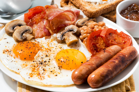Photo for traditional english breakfast, closeup horizontal - Royalty Free Image