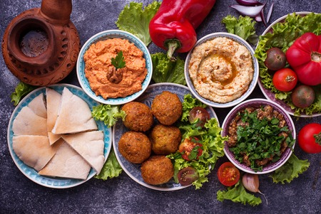 Foto de Selection of Middle eastern or Arabic dishes. - Imagen libre de derechos