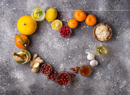 Photo pour Healthy products for Immunity boosting - image libre de droit