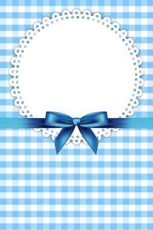 Illustration for Vector blue frame with napkin and ribbon - Royalty Free Image