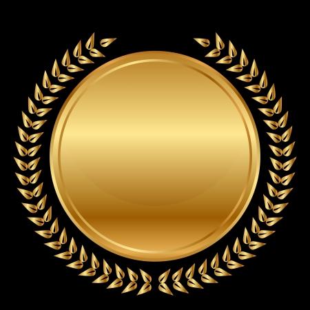 Illustration for  gold medal and laurels on black background - Royalty Free Image