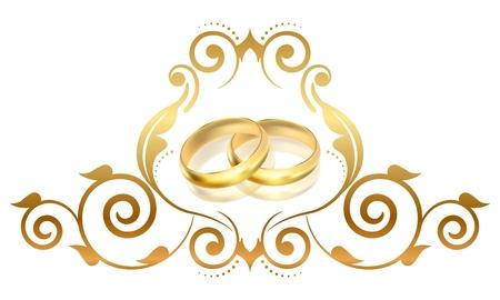 Photo pour Vector floral frame with gold rings  - image libre de droit