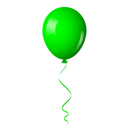 Illustration pour Vector illustration of green balloon with ribbon - image libre de droit