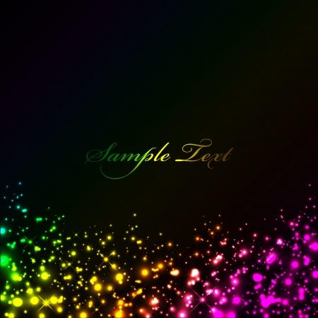 Ilustración de Vector black background with colorful lights - Imagen libre de derechos