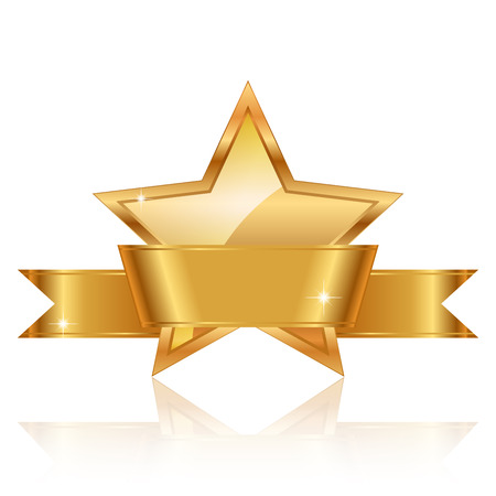 Illustration for Vector illustration of gold star award with shiny ribbon with space for your text - Royalty Free Image