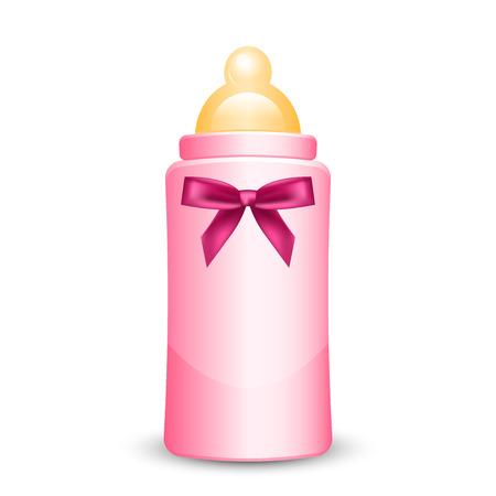 Ilustración de Vector illustration of pink baby bottle with bow - Imagen libre de derechos