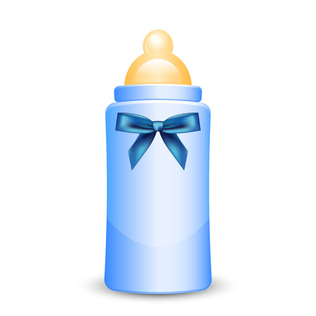 Illustration for Vector illustration of blue baby bottle with bow - Royalty Free Image