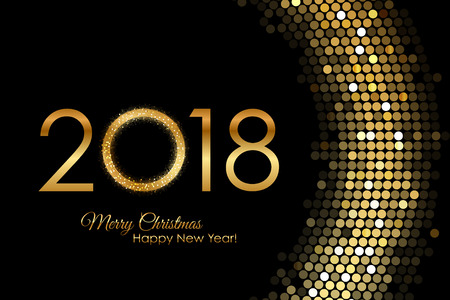 Illustration for Golden 2018 Happy New Year - Royalty Free Image