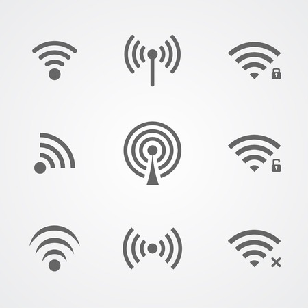Illustration pour Black wireless frequency icons isolated on white background - image libre de droit