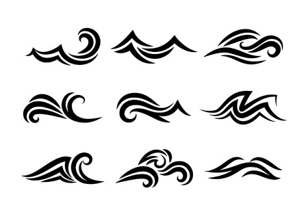 Ilustración de Ocean hand drawn waves isolated on white background - Imagen libre de derechos