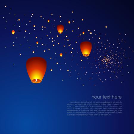Ilustración de Chinese sky lanterns floating in a dark night sky. Vector illustration - Imagen libre de derechos