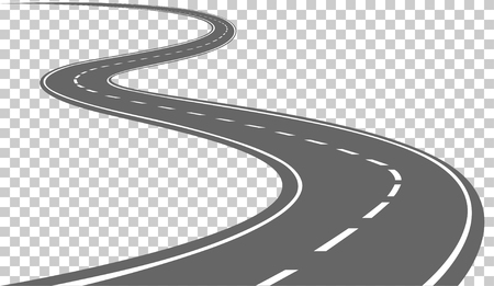 Illustrazione per Curved road with white markings. Vector illustration - Immagini Royalty Free