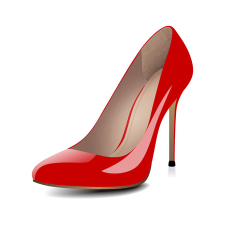 Ilustración de High heels red shoes isolated on white background. Vector illustration - Imagen libre de derechos
