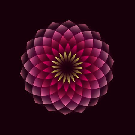 Ilustración de Pink flower geometrical sign isolated on black background. illustration - Imagen libre de derechos