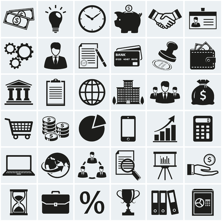 Business, finance and marketing icons. Set of 36 concept symbols. Collection of silhouette black elements for your design. Vector illustration.