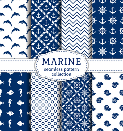 Photo for Set of sea and nautical backgrounds in navy blue and white colors. Sea theme. Seamless patterns collection. Vector illustration. - Royalty Free Image