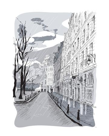 Vector illustration a street under the rain