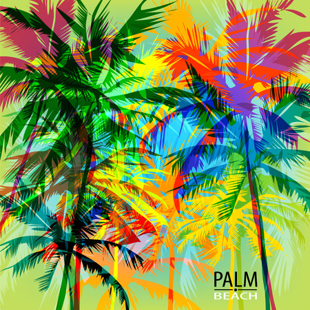 Illustration for Tropical summer print with palm. can be used for a poster or printing on fabric - Royalty Free Image