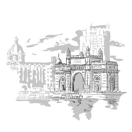 Foto de Mumbai, India Gate and the Taj Mahal Hotel Mumbai, the view from the Arabian Sea. Vector monochrome illustration. - Imagen libre de derechos