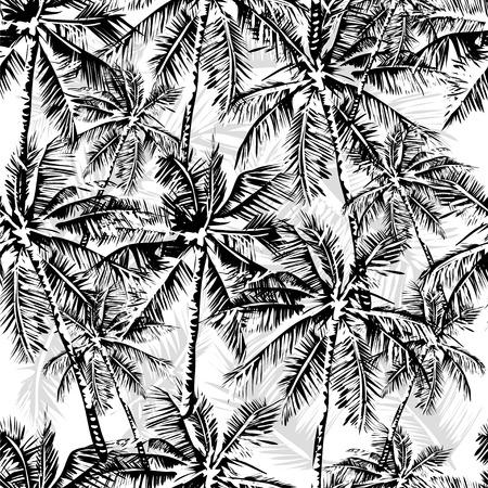 Ilustración de Seamless vector monochrome tropical pattern depicting black palm tree on a white background - Imagen libre de derechos