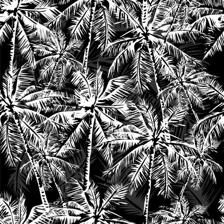 Illustration for Seamless monochrome tropical pattern - Royalty Free Image