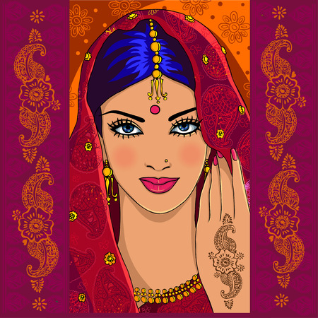 Illustration pour Portrait of an Indian woman with mehndi and paisley - image libre de droit