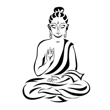 Illustration pour Buddha in the lotus position. Black outlines isolated on white. Vintage Vector. decorative elements. - image libre de droit
