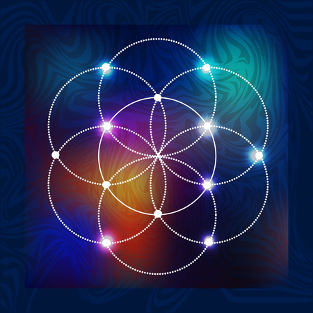 Illustration pour abstract vector background with consecrated symbols of sacred geometry - image libre de droit