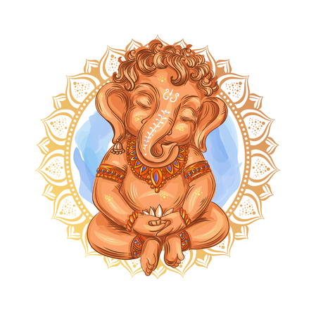 Illustrazione per Cute toddler Lord Ganesha holds a lotus - isolated vector illustration. Indian Festival of Ganesh Chaturthi. Ganesha -Ganapati. - Immagini Royalty Free