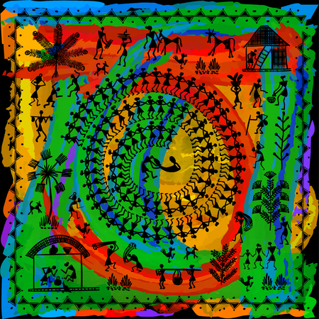 Ilustración de Warli painting - hand drawn traditional the ancient tribal art India. In the style of Indian kitsch matched by a rudimentary technique depicting rural life of the inhabitants of India - Imagen libre de derechos