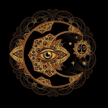 Ilustración de Boho chic tattoo design. Golden crescent moon and sun with elements of the mandala - astrology, alchemy and magic symbol. Isolated vector illustration. - Imagen libre de derechos